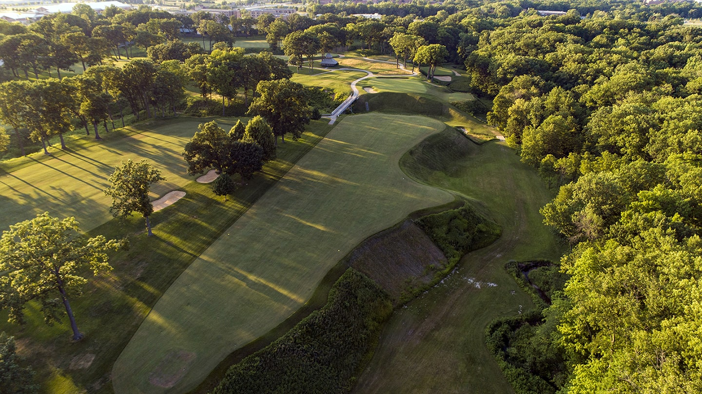 Aerial shot of the 11th at Shoreacres
