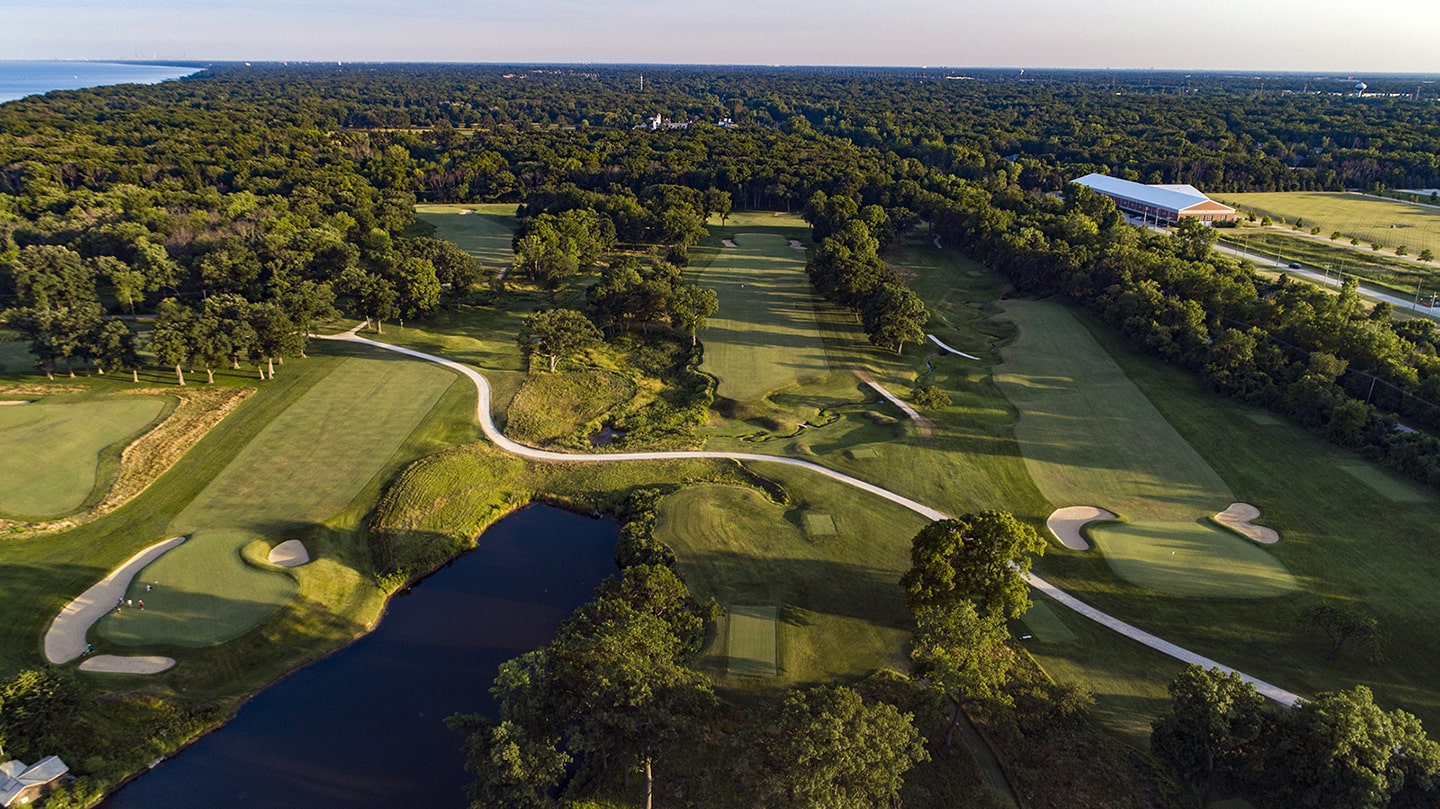Aerial shot of the 17th at Shoreacres